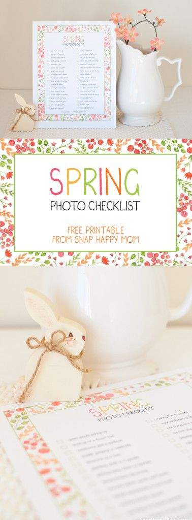 Spring Photo Checklist - a free printable from SnapHappyMom.com