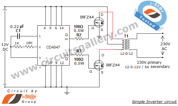microcontroller based inverter circuit diagram swm directv wiring simple low power 12v dc to 230v or 110v ac using cd4047 and irfz44 mosfet gallery of electronic circuits projects