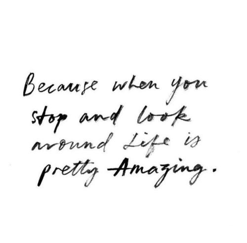 Porque quando você para e olha ao redor a vida é muito incrível <3
