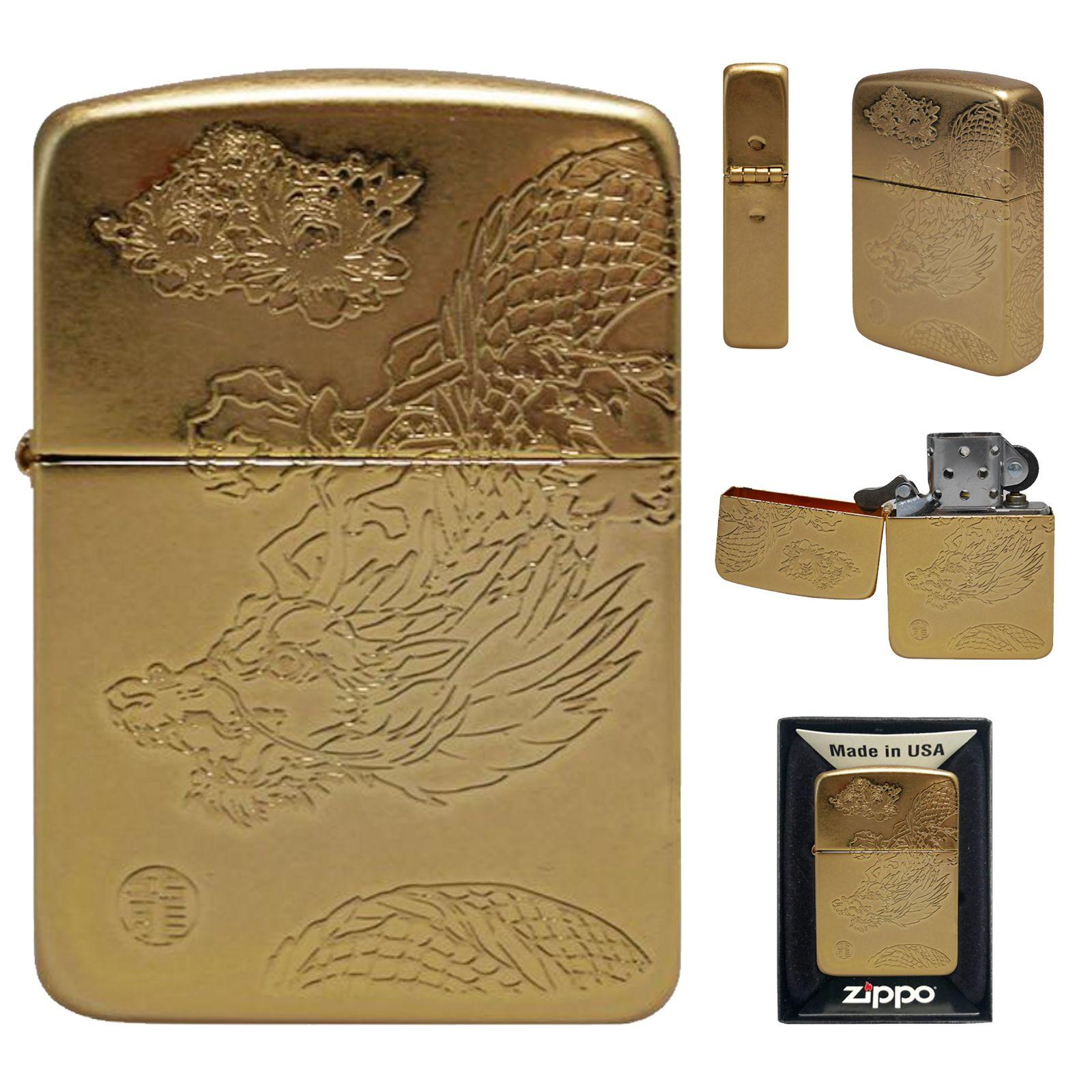 Zippo Lighter 1941 Dragon Flower Ga Gold Antique Brass Emblem Windproof Gift Ebay In 2020 Zippo Zippo Lighter Antique Brass