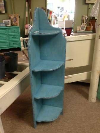 Distressed Blue Narrow Corner Bookshelf