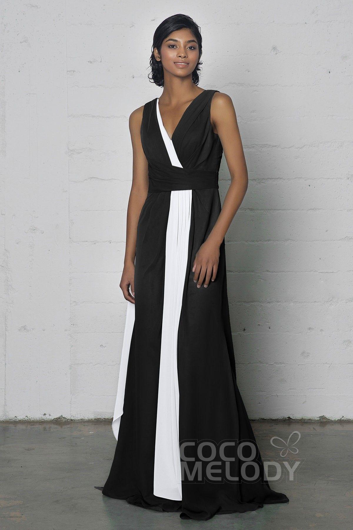 Modern Sheath-Column V-Neck Natural Floor Length Chiffon Sleeveless Zipper Pleating #COZF17002 #cocomelody #bridesmaiddress