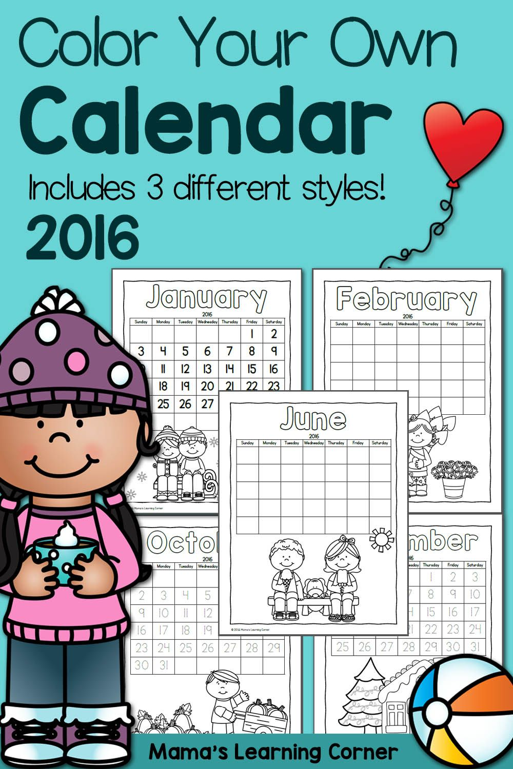 Color Fun! Printable Calendar for Kids 2016 | Ultimate Homeschool ...