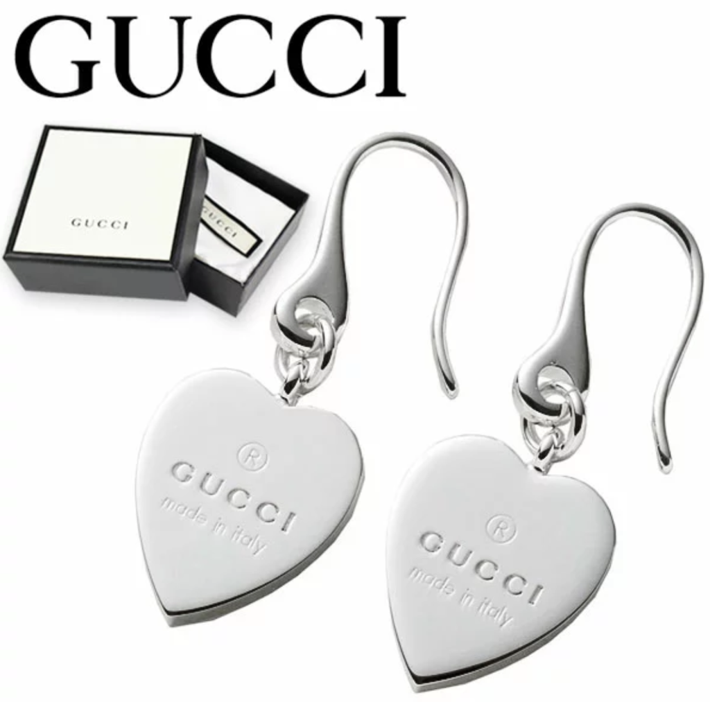 cc3f0304a02 Gucci trademark heart 925 st silver drop earrings