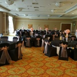 Black Chair Covers To Hire Mode And Sashes With Peach Cover