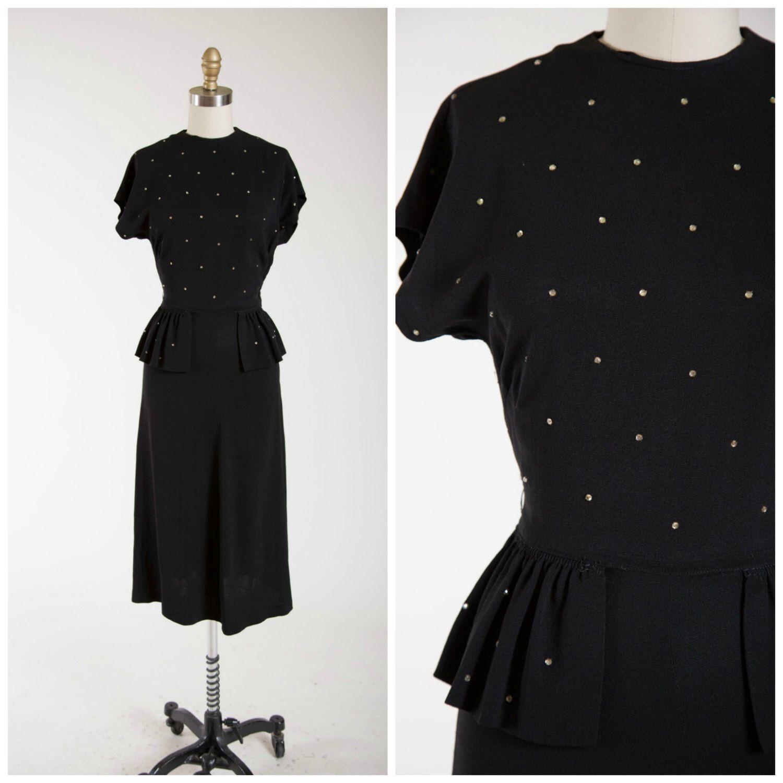 Vintage 1940s Dress • Run the Night • Black Rayon 40s Cocktail Dress ...