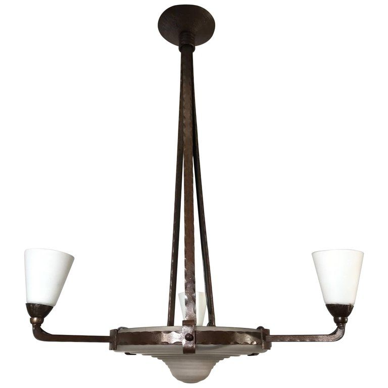 Arts crafts wrought iron fourlight pendant in style of