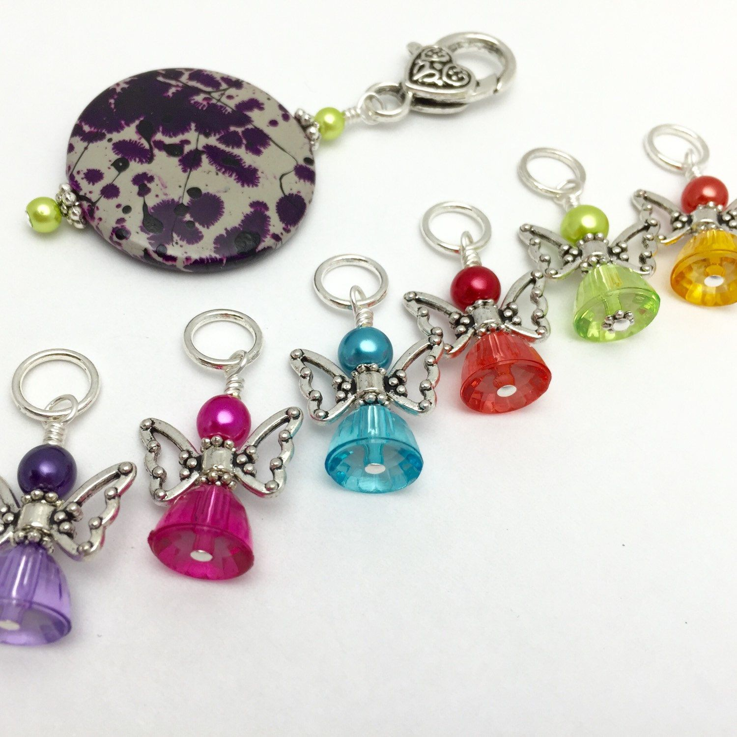 Beaded gumdrop angel stitch marker charms holder gift for beaded gumdrop angel stitch marker charms holder gift for knitters snag free knitting jewelry bankloansurffo Images