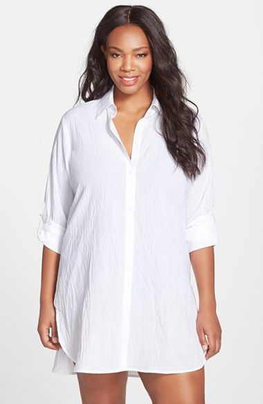 fd96749d3dcb0 Free shipping and returns on Tommy Bahama Boyfriend Shirt Cover-Up (Plus  Size) (Online Only) at Nordstrom.com. Crinkled cotton and an easy