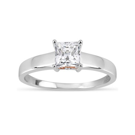 a88ae88d5 5mm White Square Swarovski CZ Sterling Silver Two-Tone Rhodium and 18kt  Rose Gold-Plated Filigree Sides Gradual Shank Ring, Adult Unisex, Size: 7