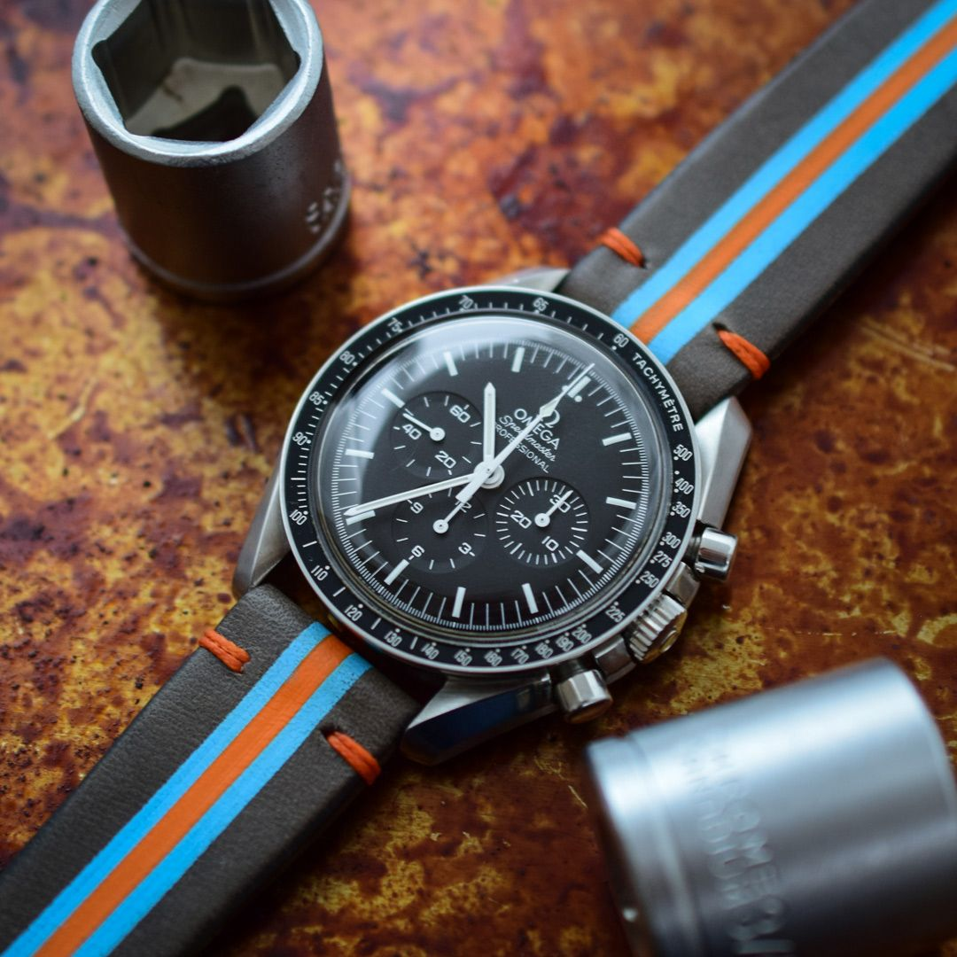 Gulf Racing Strap On Omega Speedmaster Professional Chronograph Mens Fashion Watches For Men Omega Speedmaster