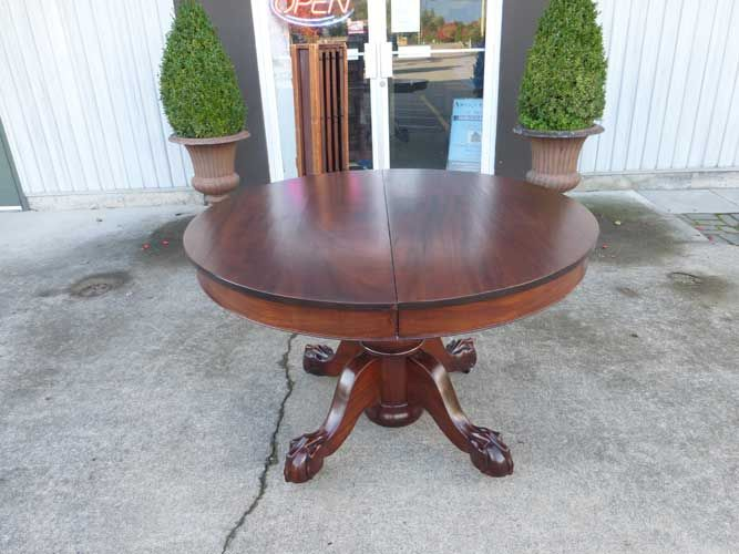 Antiques By Design 48 Round Mahogany Ball Claw Foot Pedestal Dining Table