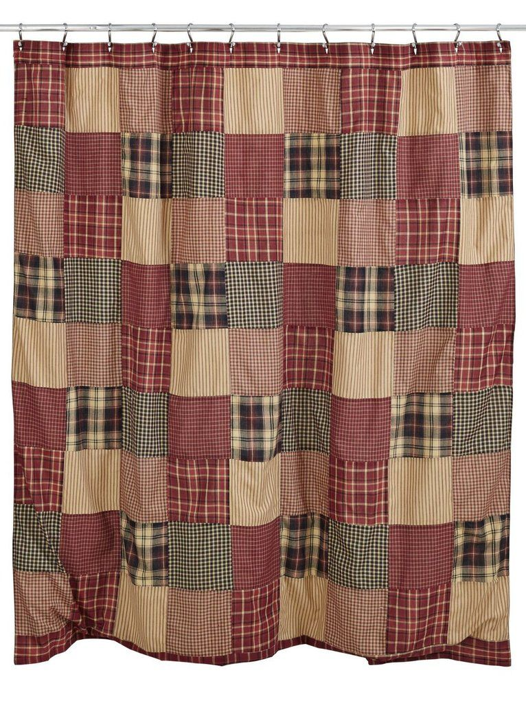 Rutherford Shower Curtain Primitive Bathrooms Bathroom Red