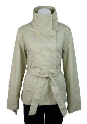 Daniel Laurent Double Breasted Women's Junior Fit Belted Cotton Canvas Jacket $49.99 (74% OFF)