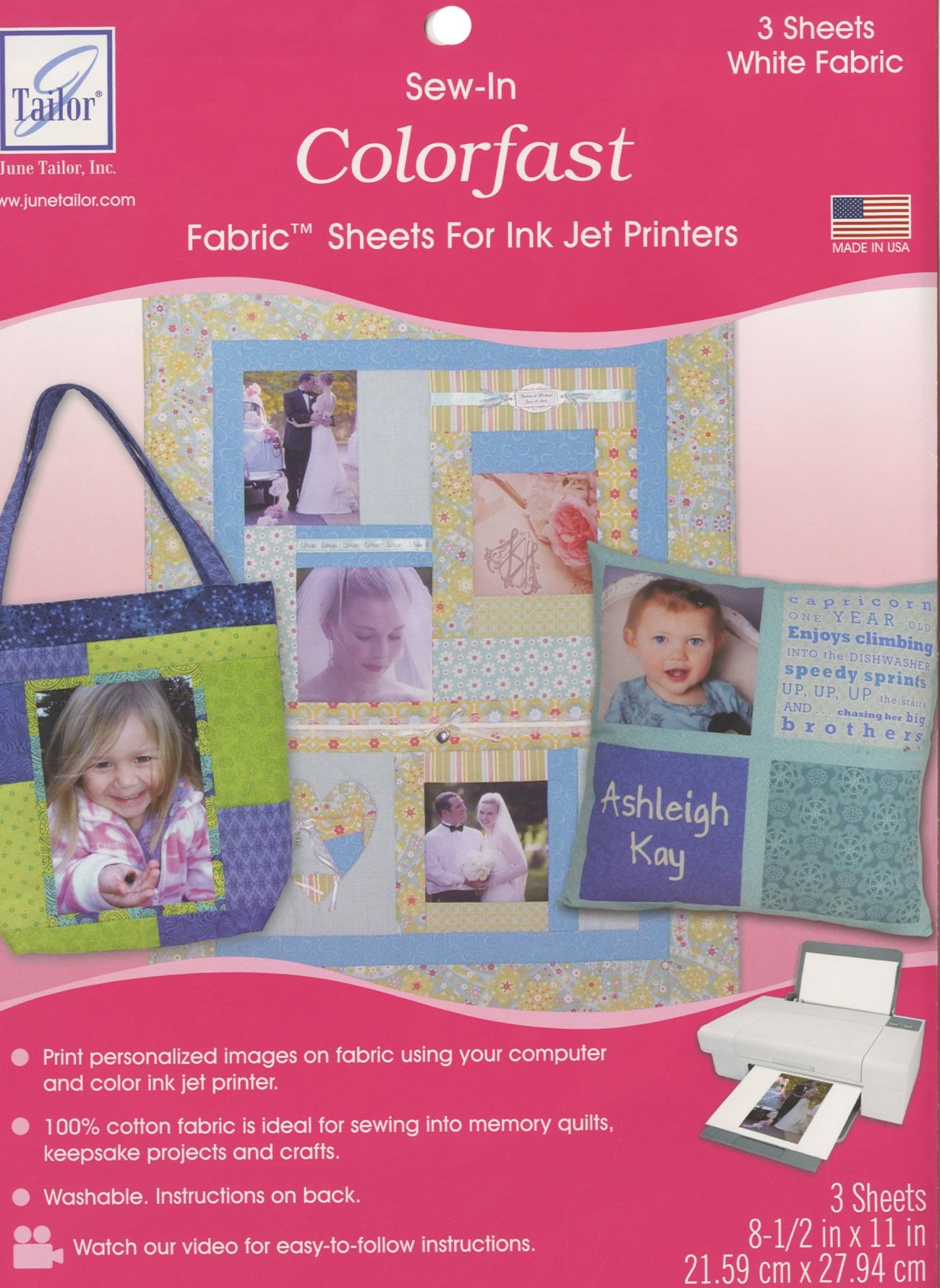 June Tailor Sew-In Colorfast Fabric Sheets for Inkjet Printers