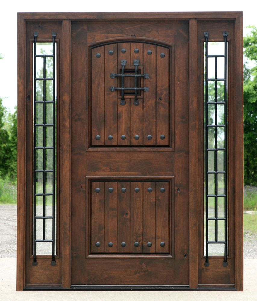 Rustic exterior doors in walnut finish clear beveled glass for Exterior front entry wood doors with glass