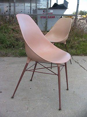 Vintage Mid Century Molded Plastic Dining Side Accent Chair Wire