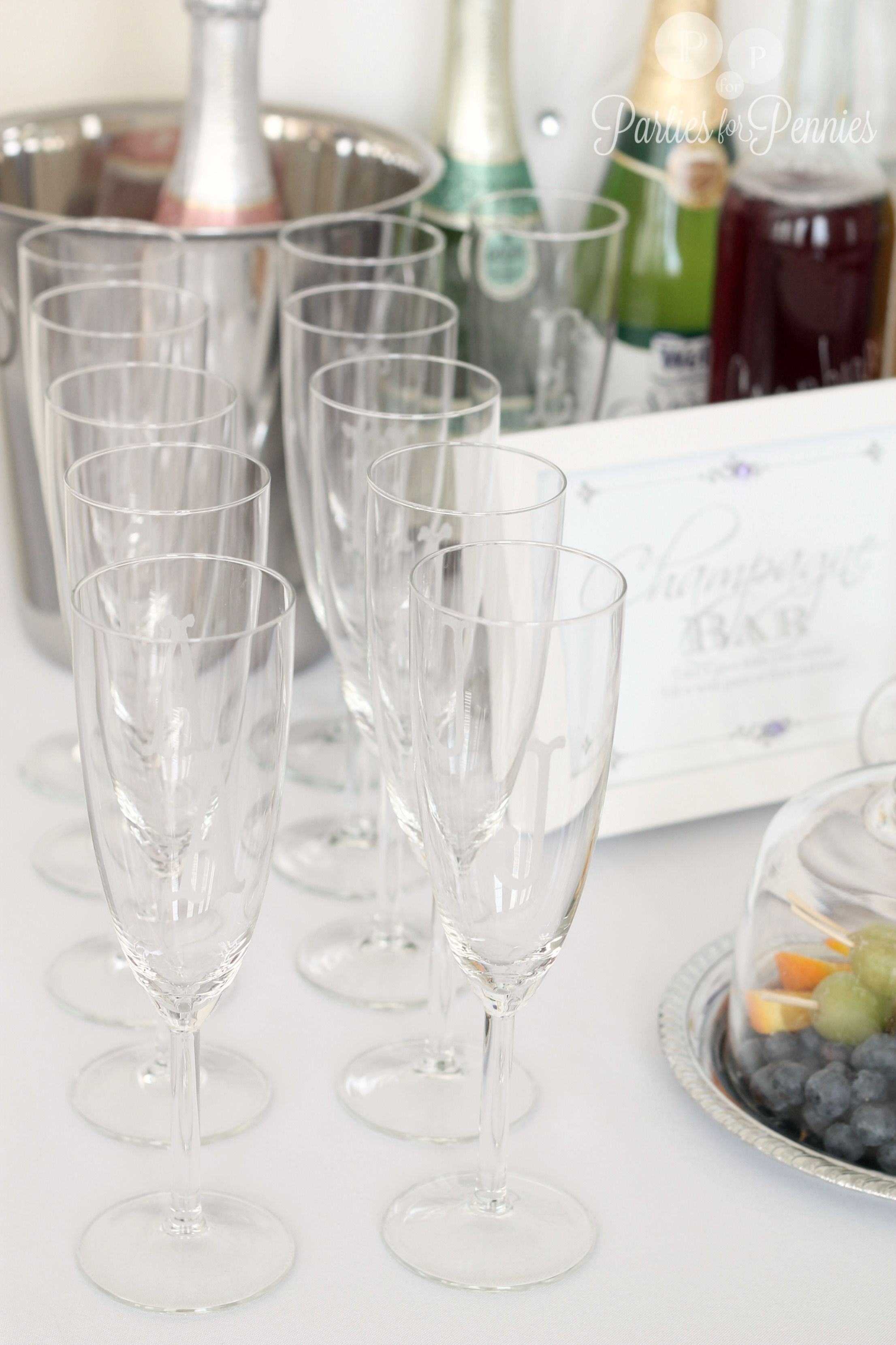 Champagne Bridal Shower - give etched glasses as favor by ...
