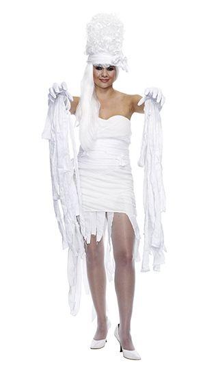 e199e25edaedd Easy DIY mummy Halloween costume idea using a thrifted white dress, shoes,  gloves and more!