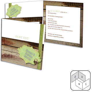 Rustikal und modern zugleich ist dieses Vorlage der Einladungskarte Hochzeit. Alle Elemente des Designs sind aber in der Anordnung flexibel.