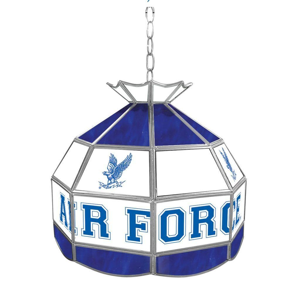 Trademark Global Air Force Falcons 16 in. Gold Hanging Tiffany Style Billiard Lamp