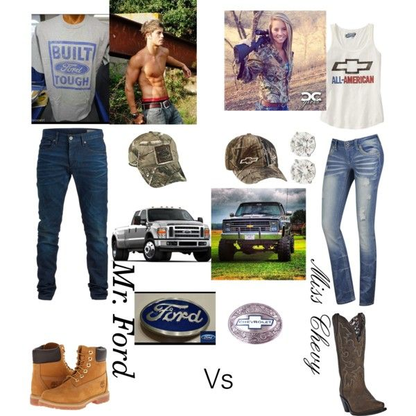 Chevy Vs Ford by gtalovergirl on Polyvore featuring polyvore fashion style Old Navy Timberland Dan Post Realtree SELECTED