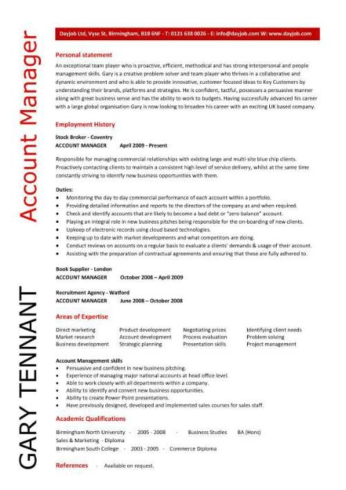 Account Manager CV Template Sample Job Description Resume Sales And Marketing CVs