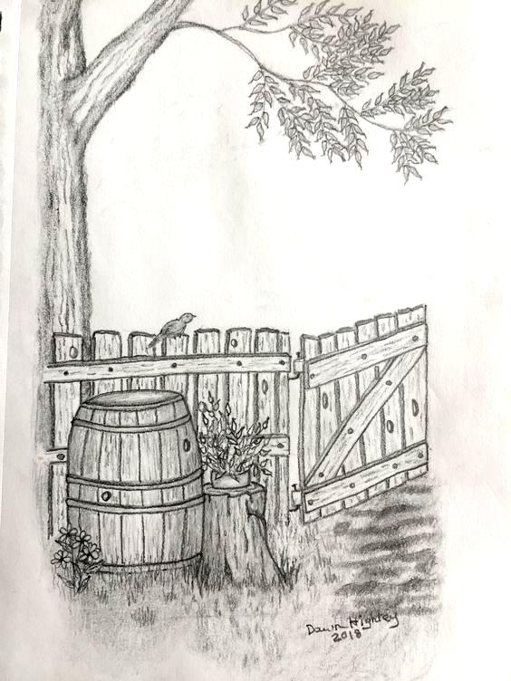 Pencil Drawing Pencil Pencildrawing Pencilart Barrel Gate Handdrawn Original In 2020 Landscape Pencil Drawings Pencil Drawings Art Drawings Sketches
