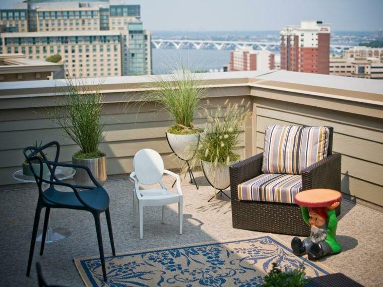 decorar terrazas urbanas plantas jardines enanos blanco Decoración - decoracion de terrazas con plantas