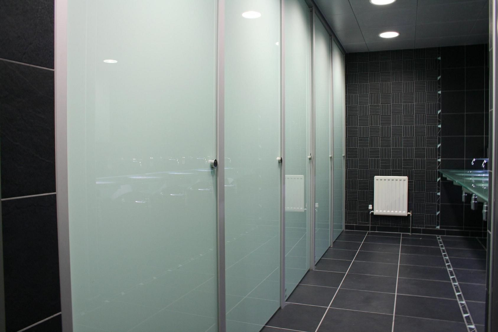 Bathroom dividers glass - Bathroom Partitions Inside Glass Toilet Cubicles Glass Toilet Partitions Boston Ma Contact Us