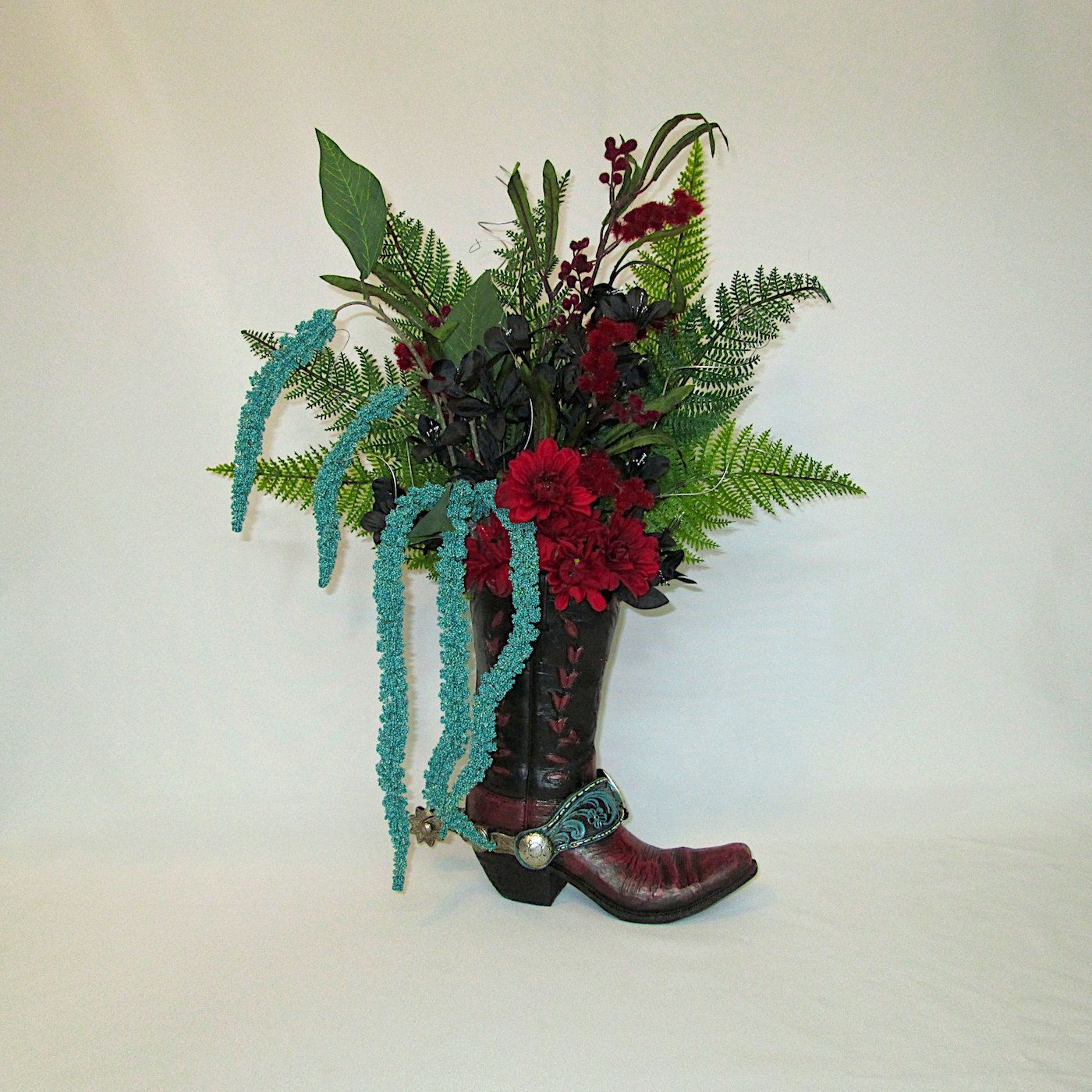 Silk Flower Arrangement In A Ceramic Cowboy Boot   Cowgirl Boot   Rustic Home  Decor