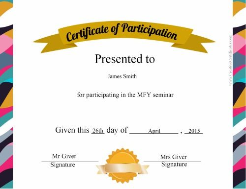 Certificate Of Participation Printable Certificates Certificate Of Participation Template Free Certificate Templates Certificate