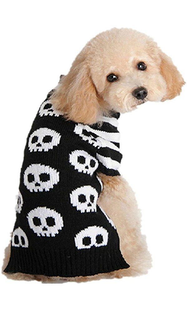 Genluna Puppy Dog Halloween Knitted Skull Sweater Clothes Small