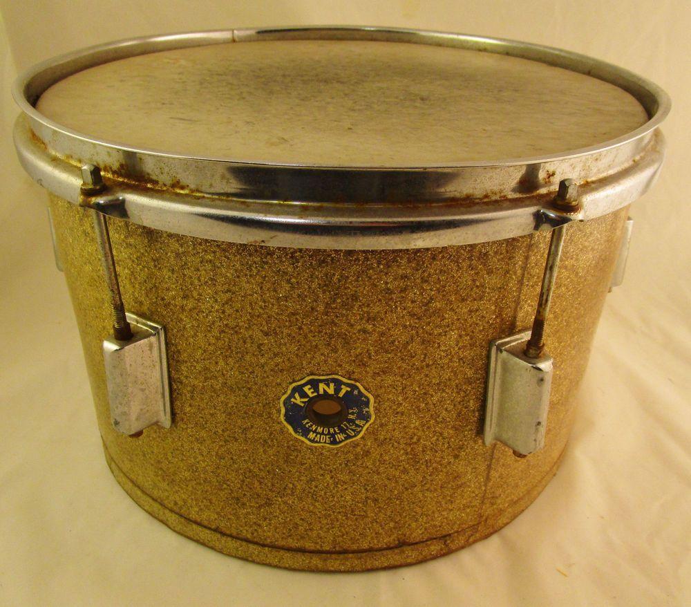 Rare Vintage 1960's Kent Champagne? Sparkle 13x8 Rack tom drum AS-IS see  pics NR #kent #drums