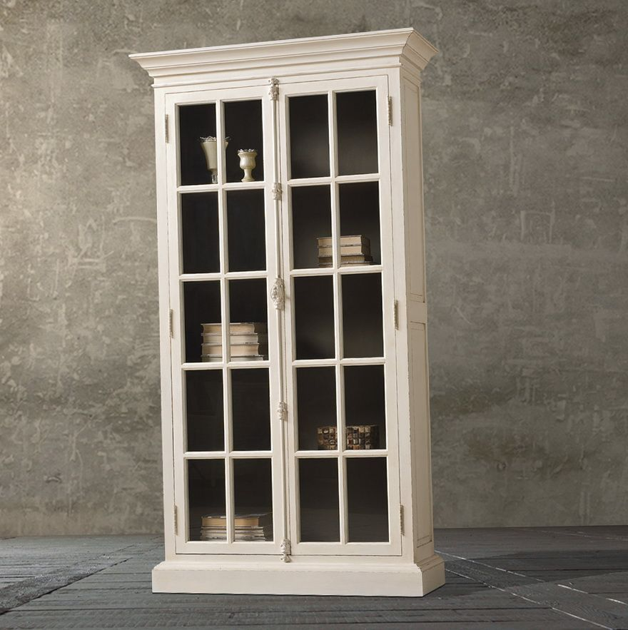Antique White Bookcase With Glass Doors Reading Space