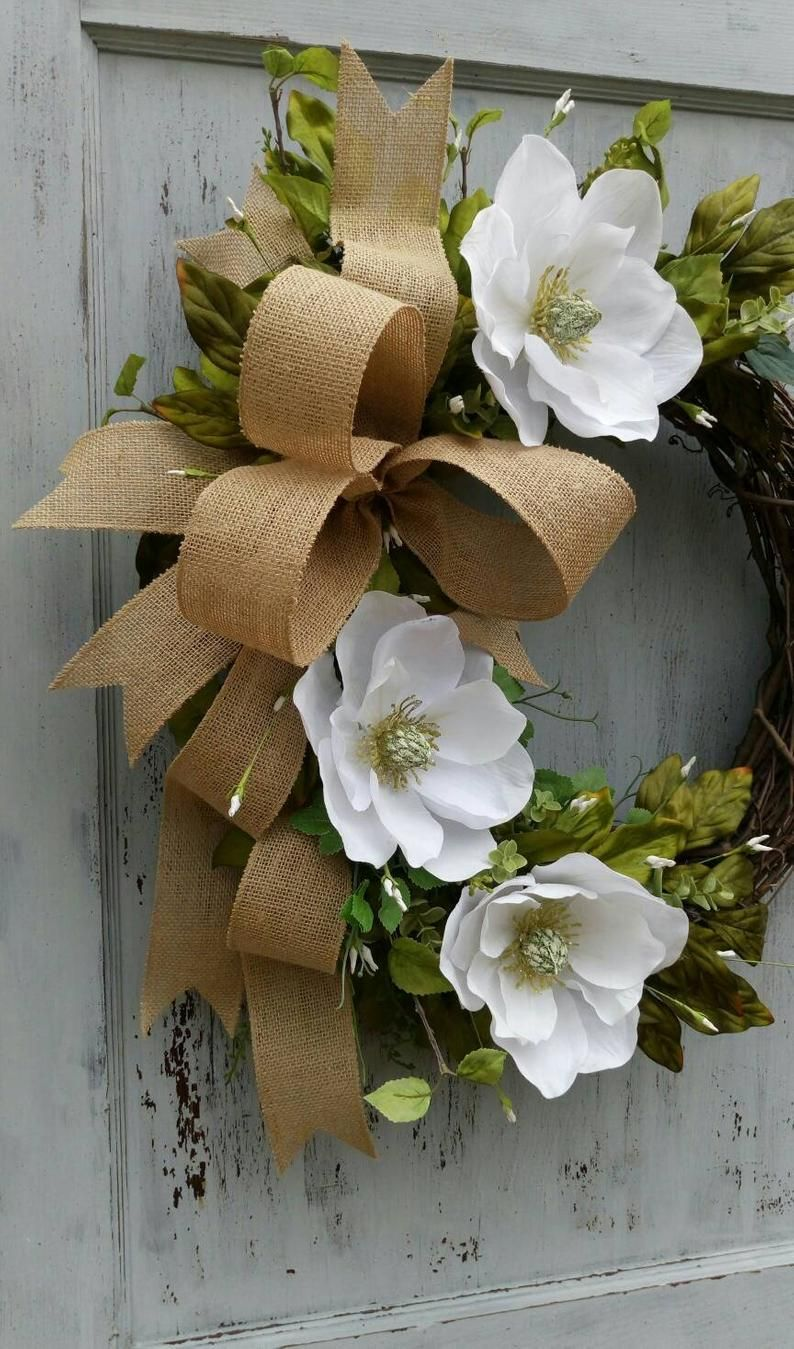 Photo of Magnolia wreath, everyday wreath, grapevine magnolia wreath, front door wreath, welcome wreath, burlap magnolia wreath, Mother's day gift