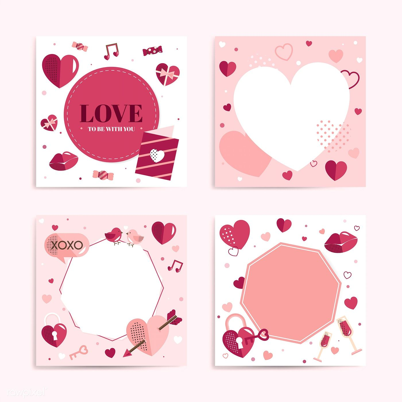 Valentine's Day blank backgrounds vector set | free image by rawpixel.com / sasi