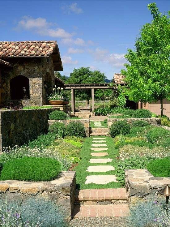 Beautiful Garten Cottage Stil rasen gartenweg gerade anlegen