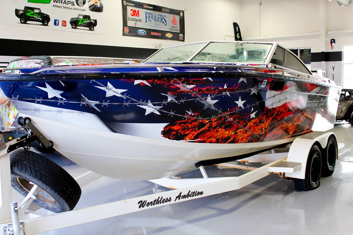 American Flag Vinyl Boat Wrap Zilla Wraps Boat Wraps Aluminum Fishing Boats Cool Boats