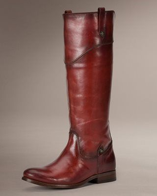 Frye Melissa Tab Tall Riding Boot in Burnt Red