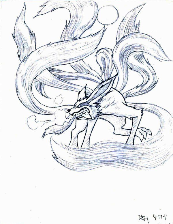 Nine Tail Demon Fox By Novedlove With Images Naruto Tattoo