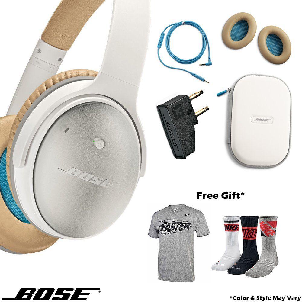 Bose Quietcomfort 25 Acoustic Noise Cancelling Headphones Sport Bundle Apple Devices White Bose Quiet Bose Headphones Headphones Noise Cancelling Headphones