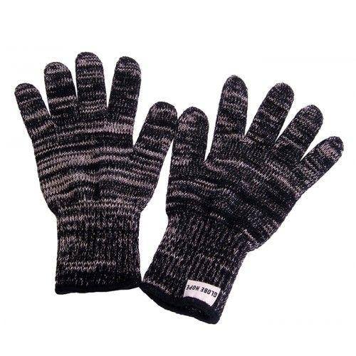 Sormikkaat neulotut hanskat beige musta ylijäämä lanka Globe Hope 22 ... 2a24b9ac0d