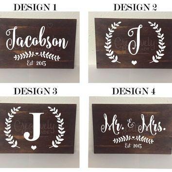 Last Name Sign Family Name Sign Established Wood Sign Mr And Mrs