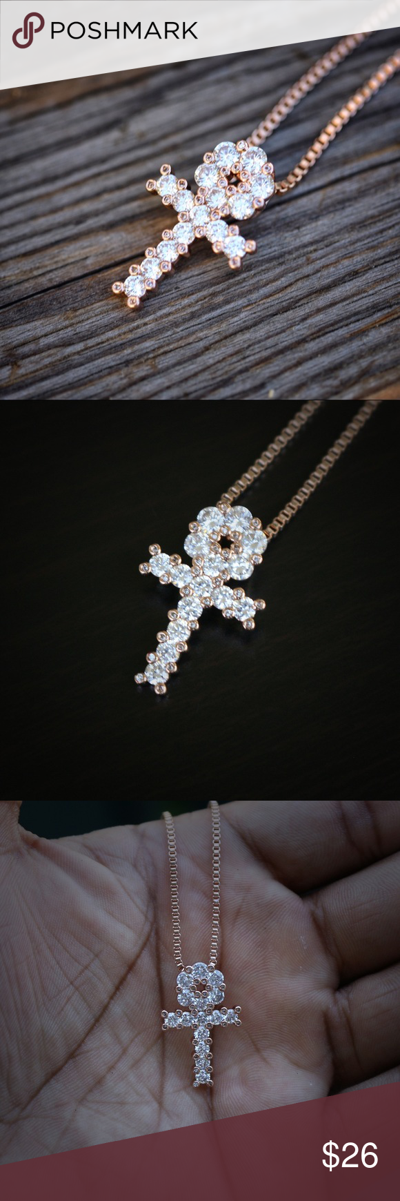 Mini Rose Gold Egyptian Ankh Cross Necklace Mini Rose Gold Egyptian Ankh Key Cross Necklace  Chain is rose gold plated over 316 stainless steel.  Pendant size is 13mm in length (mini size)  Comes with a 1.5mm width 20 inch length rose gold plated 316 stainless steel box chain. Ts Verniel Jewelry Necklaces