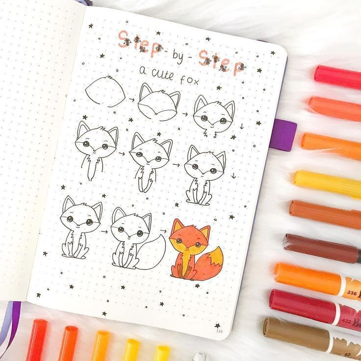 10 Easy Doodles to Inspire Your Creativity - Wildflowers and Wanderlust -   Step by Step How to Draw A Cute Fox by @notebook_therapy featured on WildflowersAndWan... #howtodraw #howtodoodle #stepbystep #fox  -  Drawing iDeas      The follow-up method for drawing is as follows: 1- Find a drawing or a photo (the ones with clear lines give better results). 2- Cover the photo with a thin paper so that you can see the original image. 3- Go over the lines you can see.