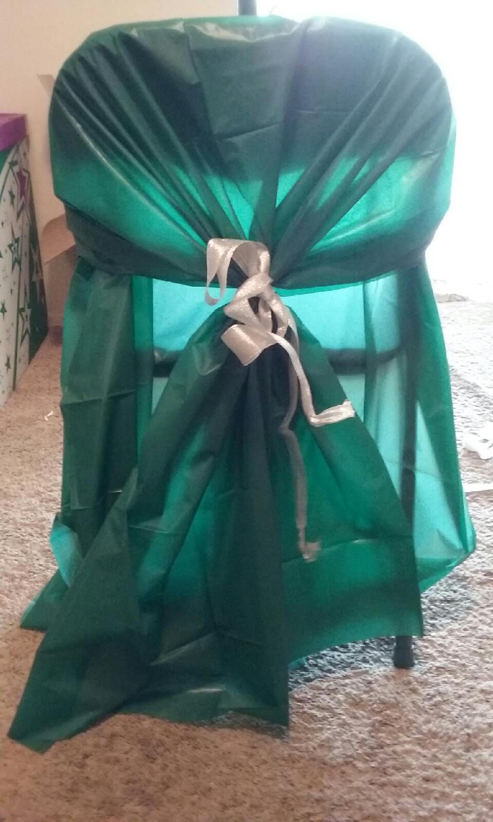 Cheap Chair Cover Made With 54x54 Plastic Table Cloth And Ribbon