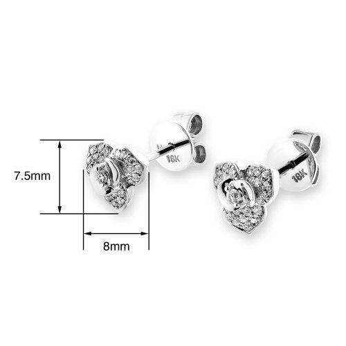X1000Diamond 18K 750 White Gold Rose Flower Diamond Stud Earring