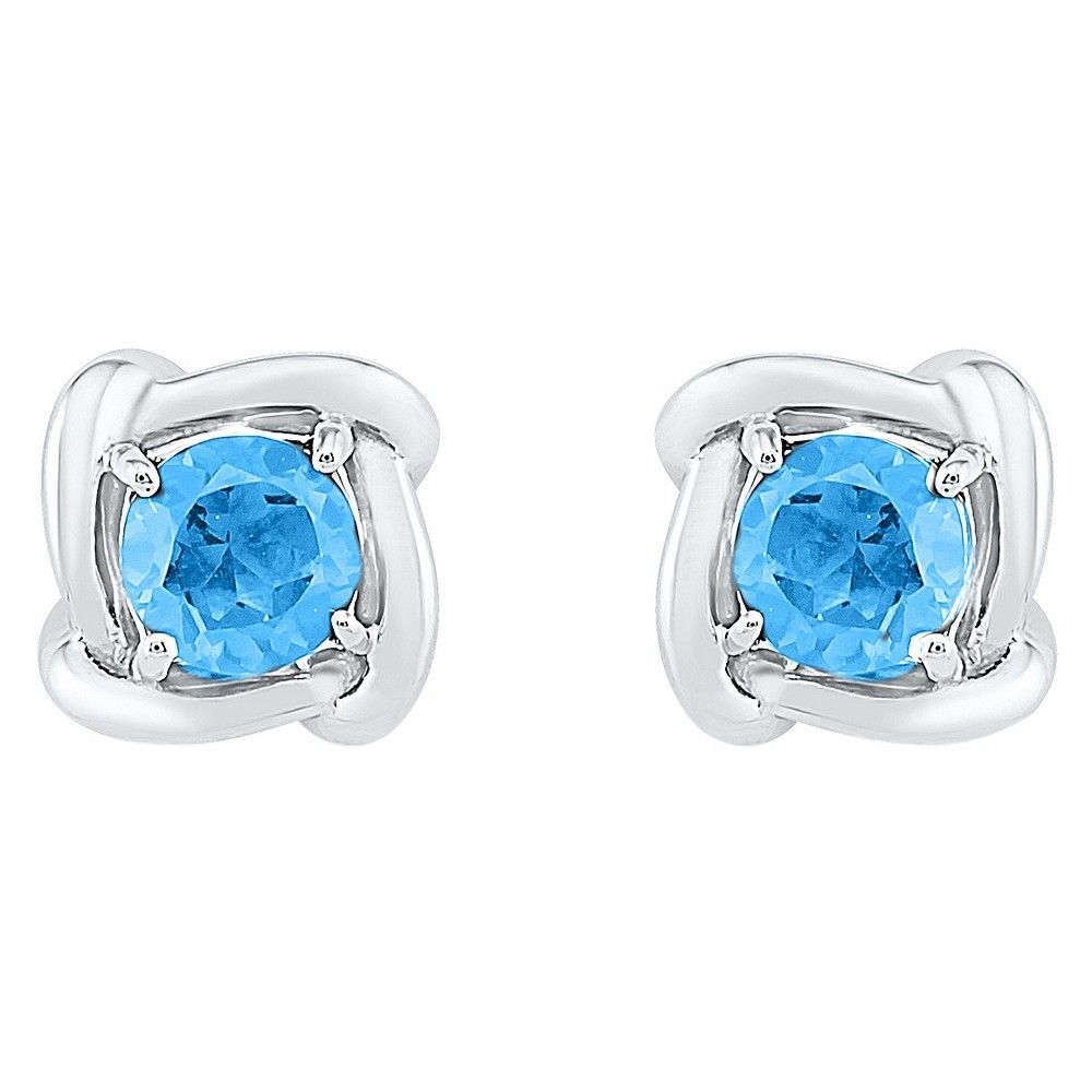 Natural Blue Topaz Prong Set Solitaire Stud Earring in Sterling Silver, Women's, White