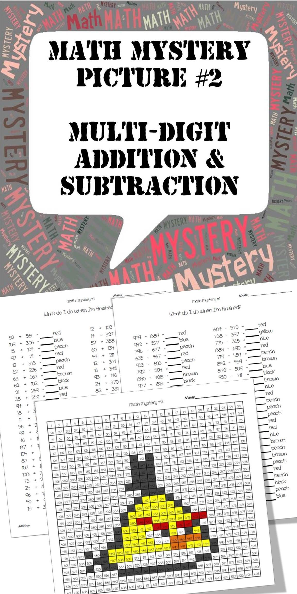 Mystery Picture 2 Multi Digit Addition And Subtraction